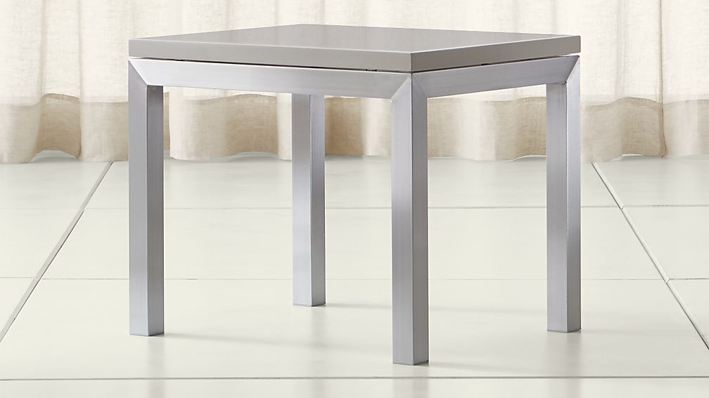 Parsons Grey Solid Surface Top/ Stainless Steel Base 20x24 End Table - Image 1 of 4