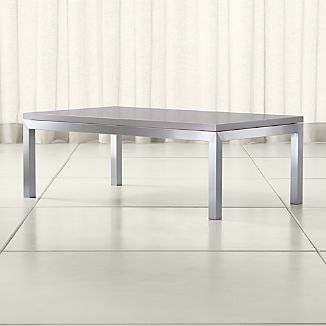 Parsons Grey Solid Surface Top/ Stainless Steel Base 48x28 Small Rectangular Coffee Table