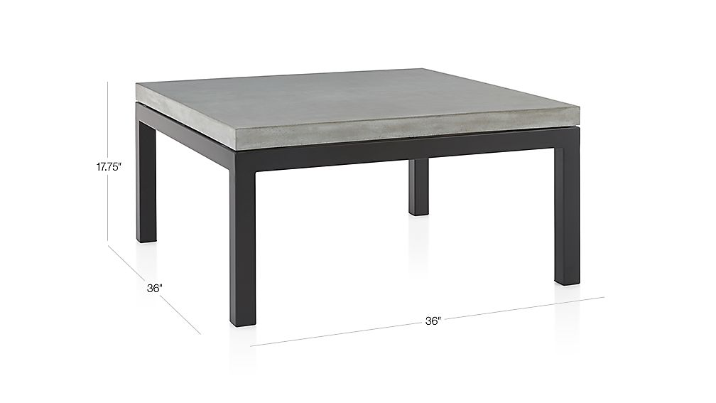 Tap To Zoom Image With Dimension For Parsons Concrete Top Dark Steel Base 36x36 Square Coffee Table