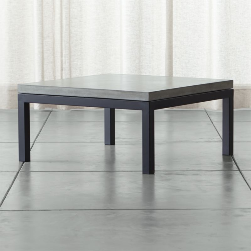 Parsons Concrete Top Dark Steel Base 36x36 Square Coffee Table