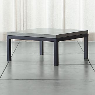Parsons Square Dark Steel Coffee Table with Concrete Top