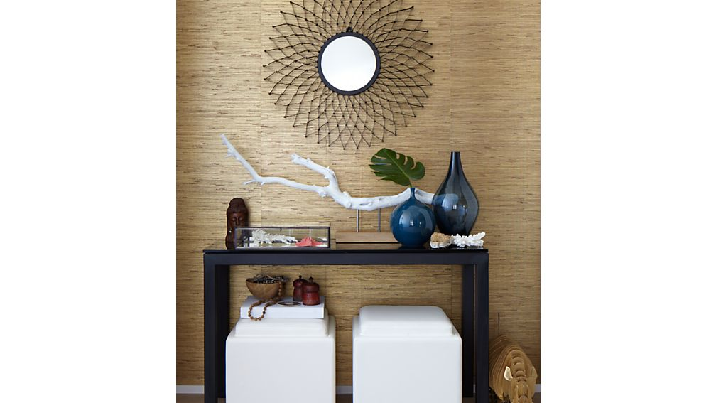 Parsons Clear Glass Top/ Dark Steel Base 48x16 Console