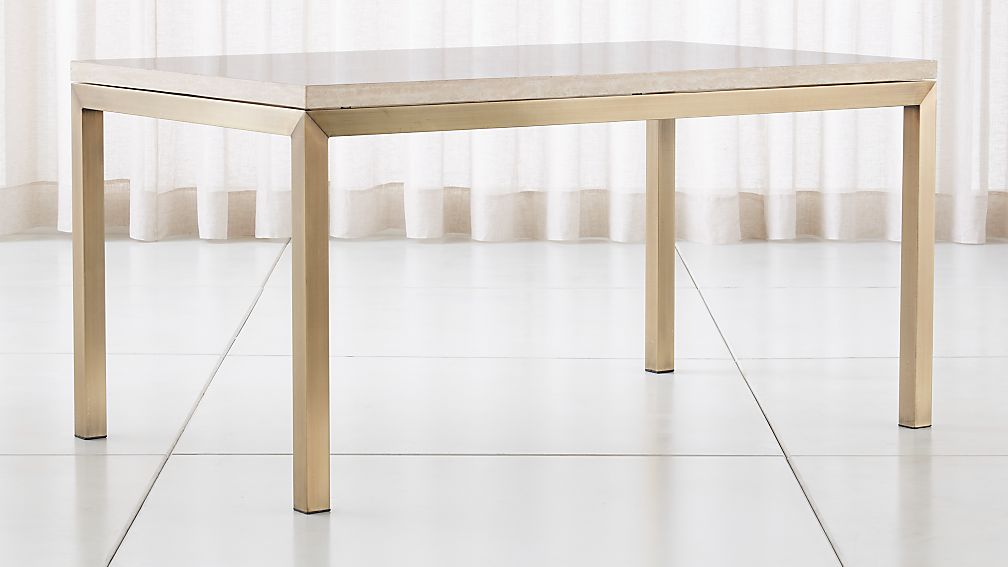 Parsons Travertine Top/ Brass Base Dining Tables - Image 1 of 5