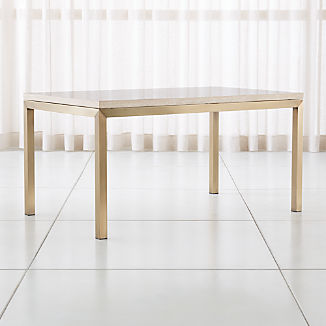 Parsons Travertine Top/ Brass Base Dining Tables