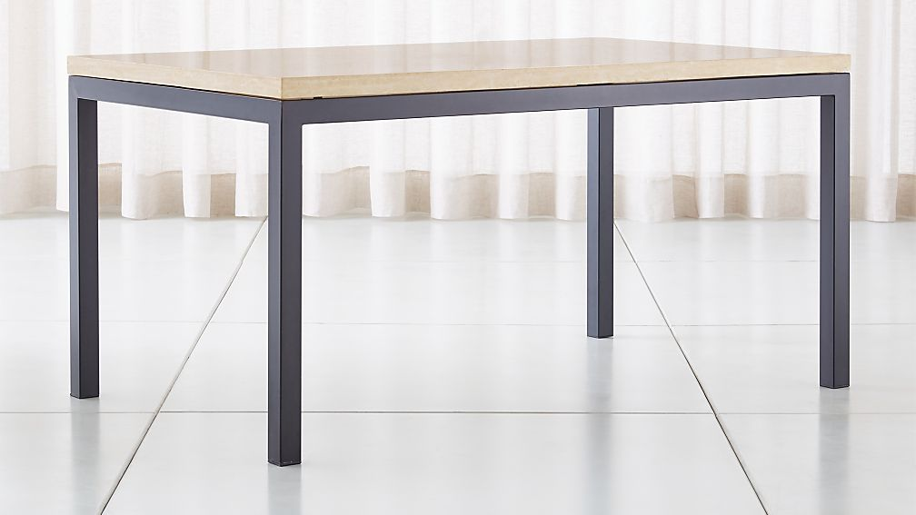 Parsons Travertine Top Dark Steel Base Dining Tables Crate And Barrel