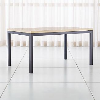 Parsons Travertine Top/ Dark Steel Base Dining Tables