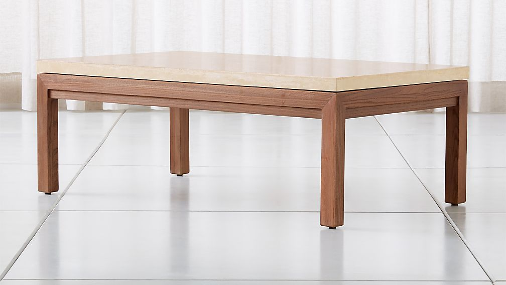 Parsons Travertine Top/ Elm Base 48x28 Small Rectangular Coffee Table - Image 1 of 4
