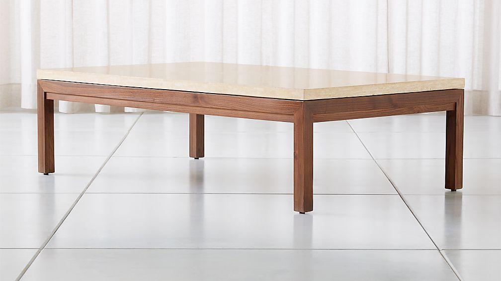 Parsons Travertine Top/ Elm Base 60x36 Large Rectangular Coffee Table - Image 1 of 4