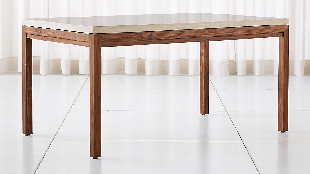 Parsons Travertine Top/ Elm Base Dining Tables - Image 1 of 6