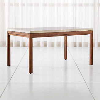 Parsons Travertine Top/ Elm Base Dining Tables