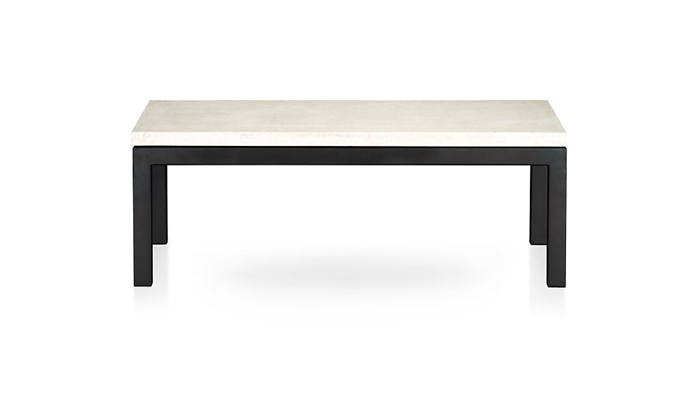 Parsons Travertine Top/ Dark Steel Base 48x28 Small Rectangular Coffee Table