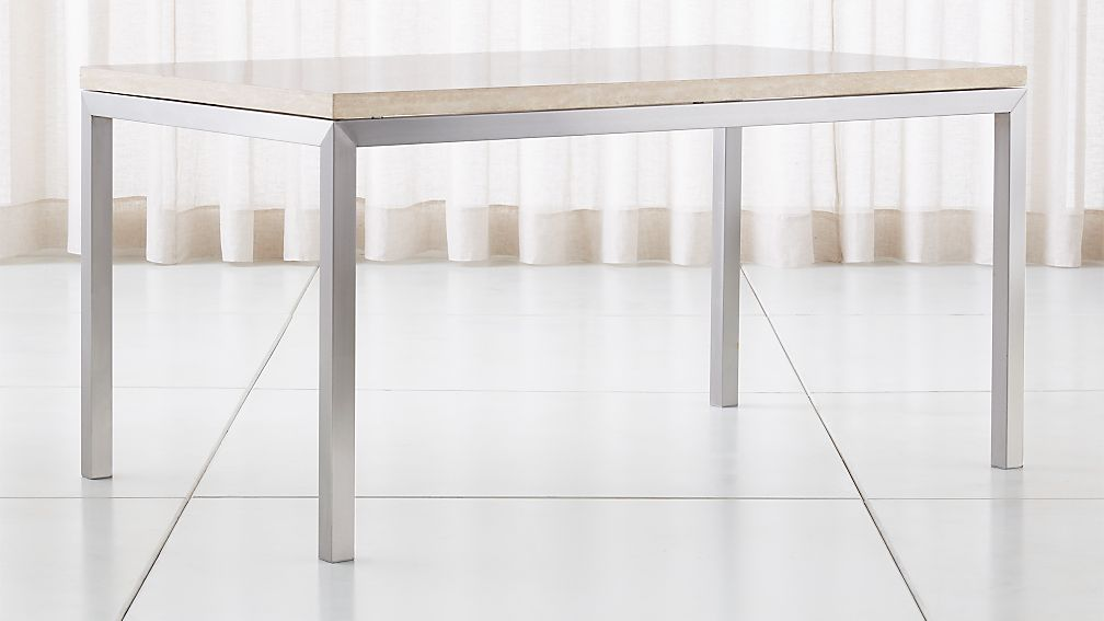 Parsons Travertine Top/ Stainless Steel Base Dining Tables - Image 1 of 5