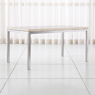 Parsons Travertine Top/ Stainless Steel Base Dining Tables