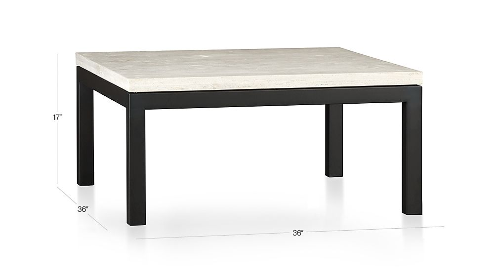 Parsons Travertine Top Dark Steel Base 36x36 Square Coffee Table Crate And Barrel