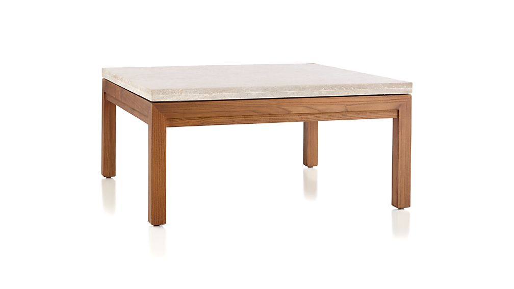 parsons travertine top elm base 36x36 square coffee table