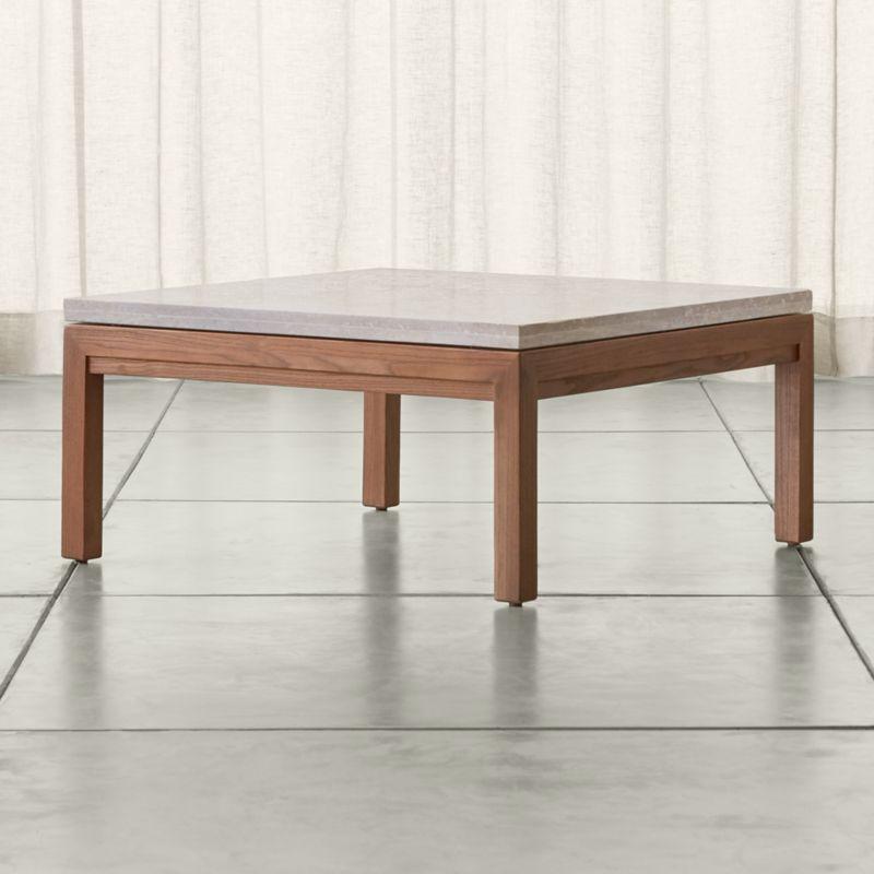 Parsons Travertine Top Dark Steel Base X Square Coffee Table - Travertine coffee table
