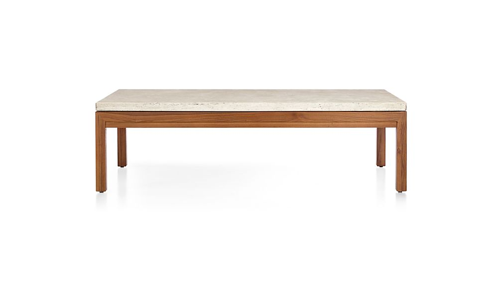 Parsons Travertine Top/ Elm Base 60x36 Large Rectangular Coffee Table