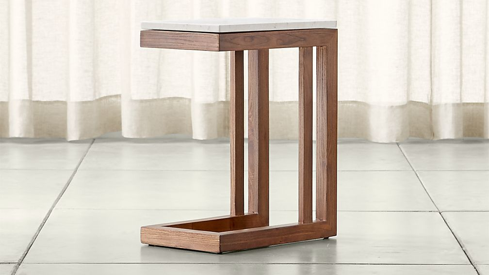 Parsons Travertine Top/ Elm Base 20x12 C Table ...