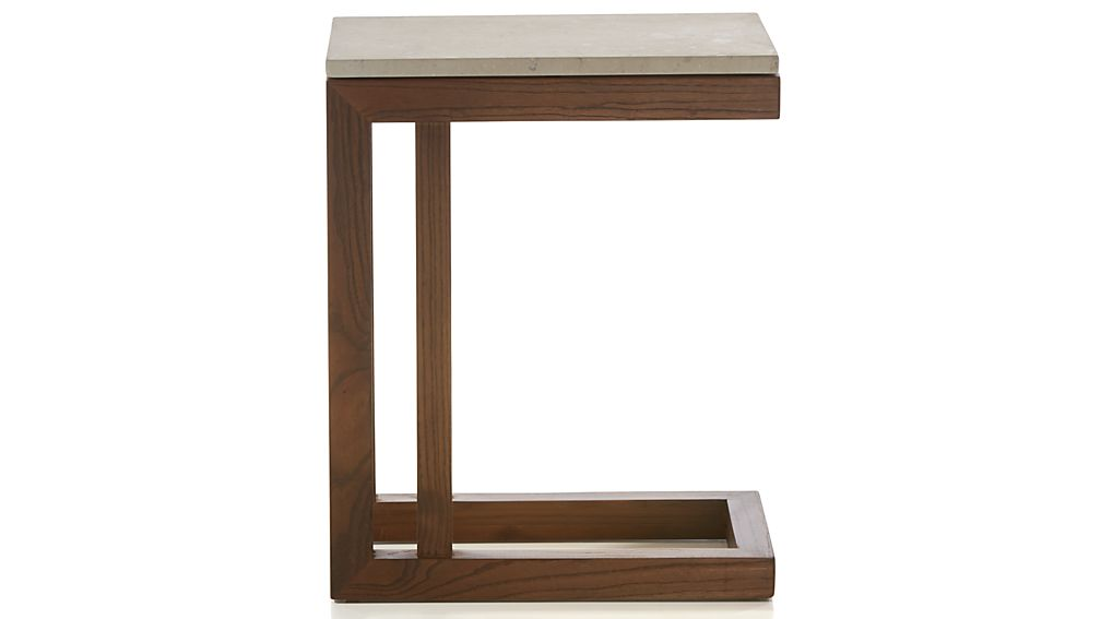 Parsons Travertine Top/ Elm Base 20x12 C Table