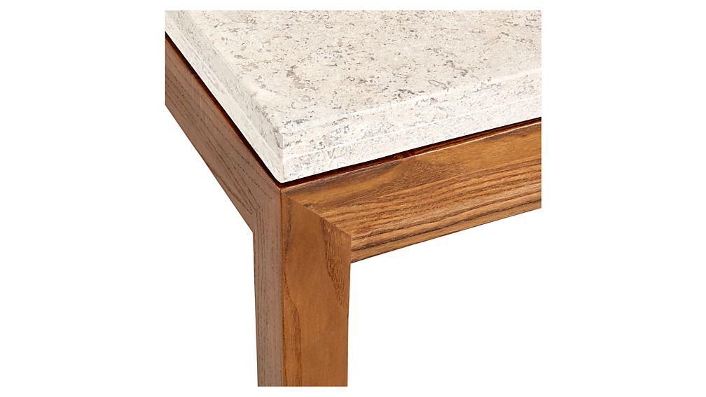 Parsons Travertine Top/ Elm Base 48x28 Small Rectangular Coffee Table