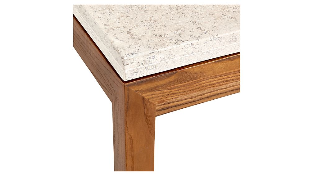 Parsons Travertine Top/ Elm Base 48x28 Small Rectangular Coffee Table