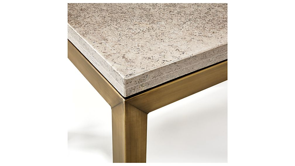 Parsons Travertine Top/ Brass Base 36x36 Square Coffee Table