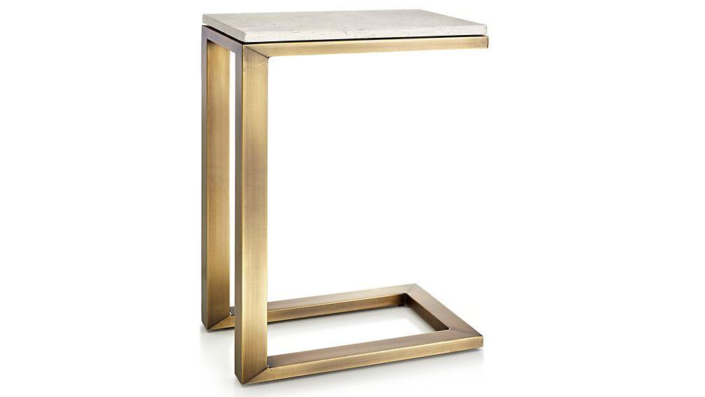 Parsons Travertine Top/ Brass Base 20x12 C Table