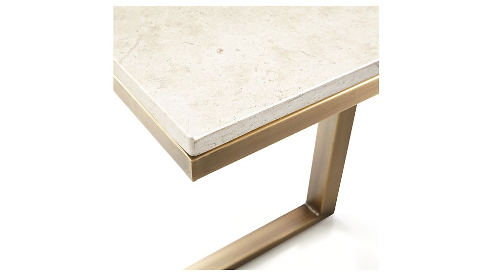 Parsons Travertine Top/ Brass Base 20x12 C Table
