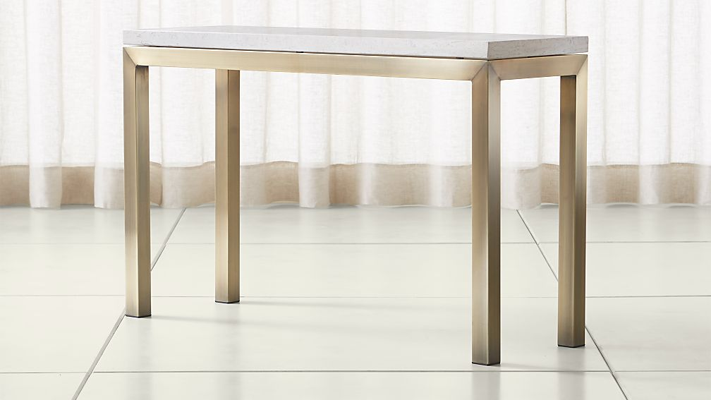 Parsons Travertine Top/ Brass Base 48x16 Console