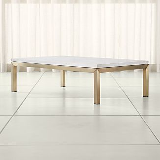 Parsons Travertine Top/ Brass Base 60x36 Large Rectangular Coffee Table