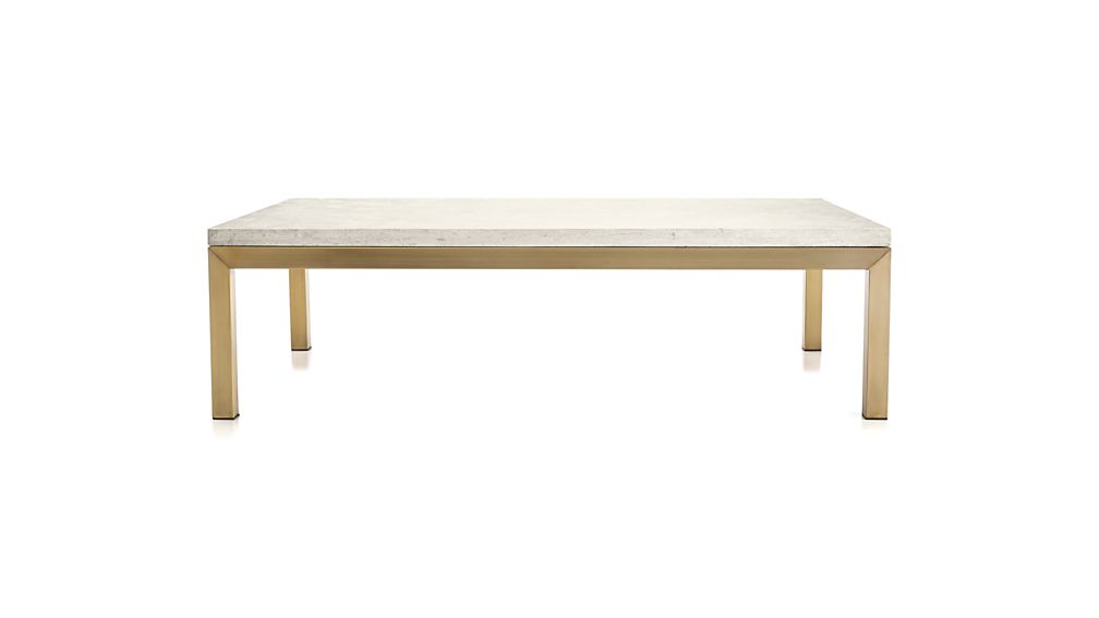 Parsons Travertine Top/ Brass Base 60x36 Large Rectangular Coffee Table