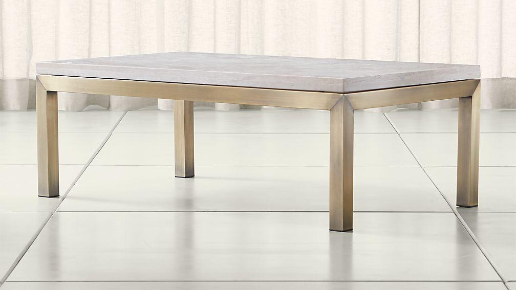 Parsons Travertine Top/ Brass Base 48x28 Small Rectangular Coffee Table ...