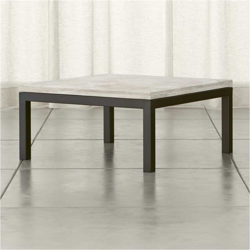 Parsons Travertine Top Dark Steel Base 36x36 Square Coffee Table