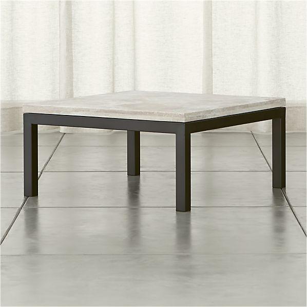 Parsons Travertine Top/ Dark Steel Base 36x36 Square Coffee Table