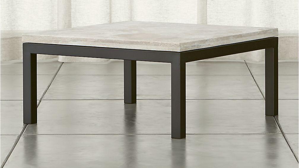 Parsons Travertine Top Dark Steel Base 36x36 Square Coffee Table