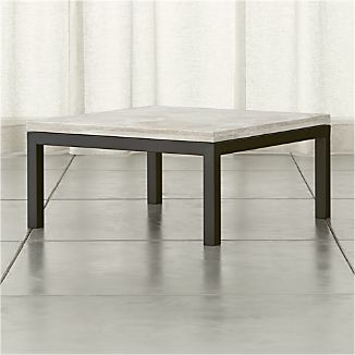 Parsons Travertine Top/ Dark Steel Base 36x36 Square Coffee Table