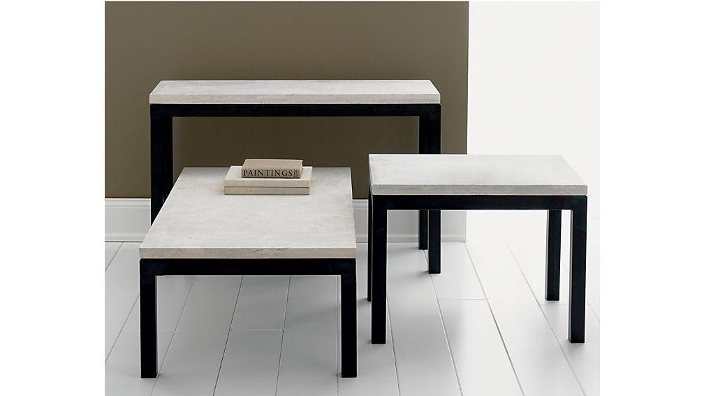 Parsons Travertine Top/ Dark Steel Base 48x28 Small Rectangular Coffee Table