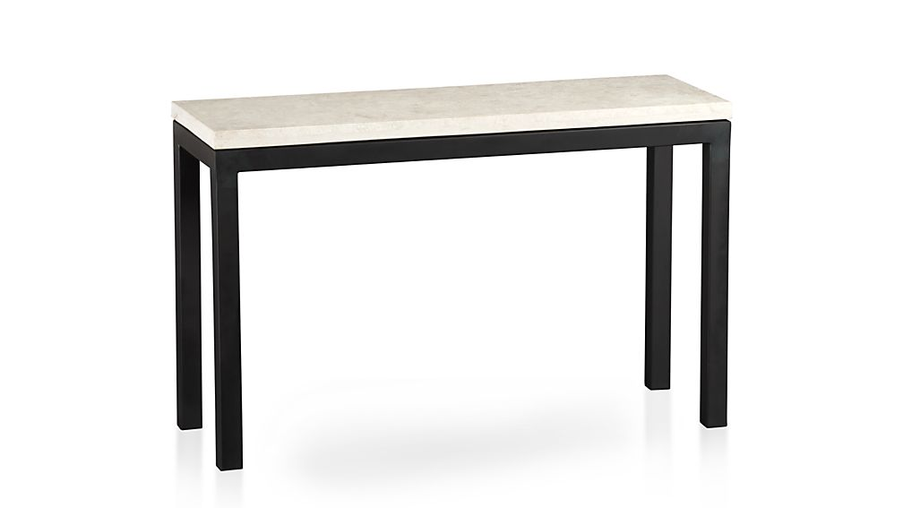 ... Parsons Travertine Top/ Dark Steel Base 48x16 Console ...