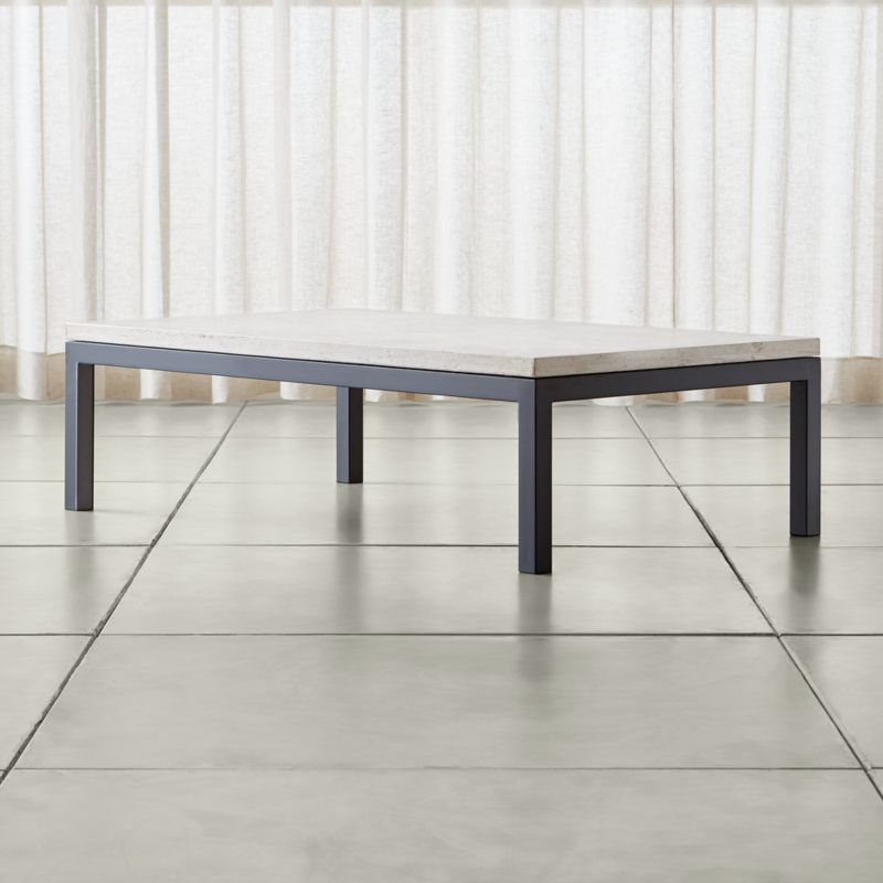 Crate And Barrel Black Marble Coffee Table: Parsons Travertine Top/ Dark Steel Base 60x36 Large