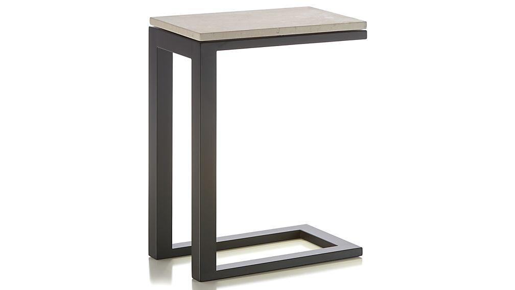 Parsons Travertine Top/ Dark Steel Base 20x12 C Table