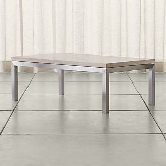 Parsons Travertine Top/ Stainless Steel Base 48x28 Small Rectangular Coffee Table