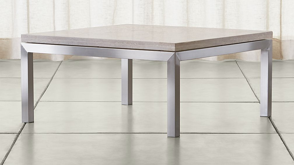Parsons Travertine Top Stainless Steel Base 36x36 Square Coffee Table Crate And Barrel