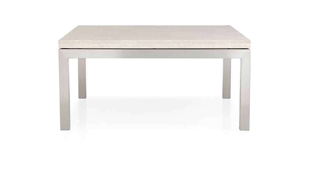 Parsons travertine top stainless steel base 36x36 square for 36x36 coffee table