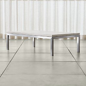 Parsons Travertine Top/ Stainless Steel Base 60x36 Large Rectangular Coffee Table