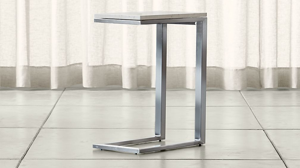 Parsons Travertine Top/ Stainless Steel Base 20x12 C Table