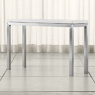 Parsons Stainless Steel Console Table with Travertine Top