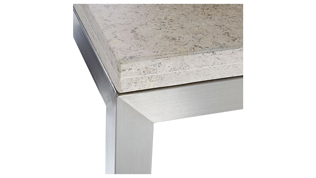 Parsons Travertine Top/ Stainless Steel Base 48x16 Console