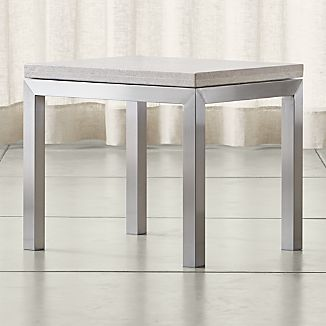 Parsons Travertine Top/ Stainless Steel Base 20x24 End Table