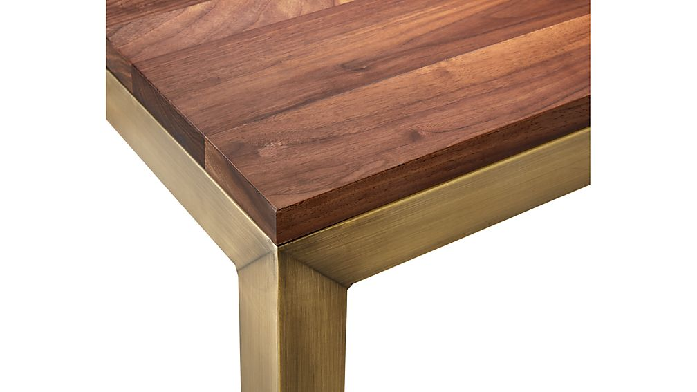 Parsons Walnut Top/ Brass Base 48x28 Dining Table