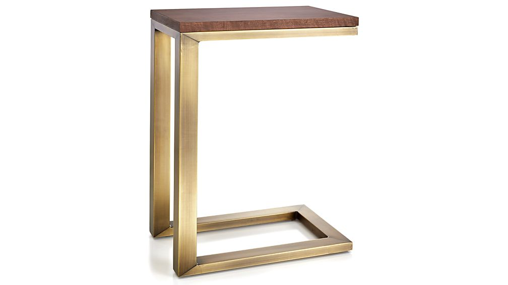 Parsons Walnut Top/ Brass Base 20x12 C Table